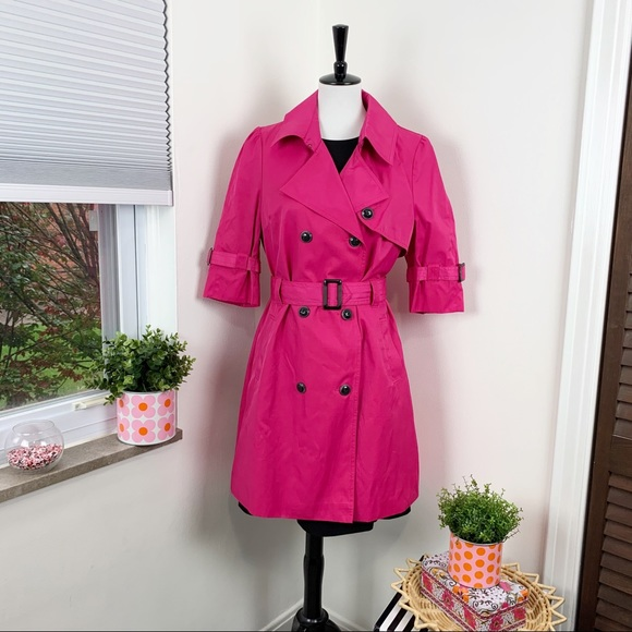 Black Rivet   Pink Magenta Trench Coat Jacket
